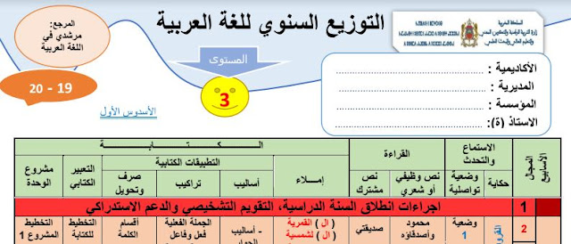 التوزيع السنوي مرجع مرشدي في اللغة العربية المستوى الثالث  طبعة 2019 بحلة جميلة