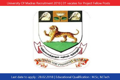 University Of Madras Recruitment 2018