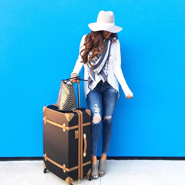 """The sweetest Thing blog, emily gemma, Janessa leone hat, Brics black luggage review, DVF adieu luggage 28"""", BP wedges grey nordstrom, louis vuitton scarf navy, airport outfit ideas, pinterest travel outfit ideas"""
