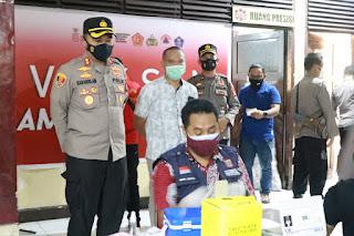 Sukseskan 1 Juta Vaksinasi, Polres Pelabuhan Makassar Vaksin lebih 1000 Warga