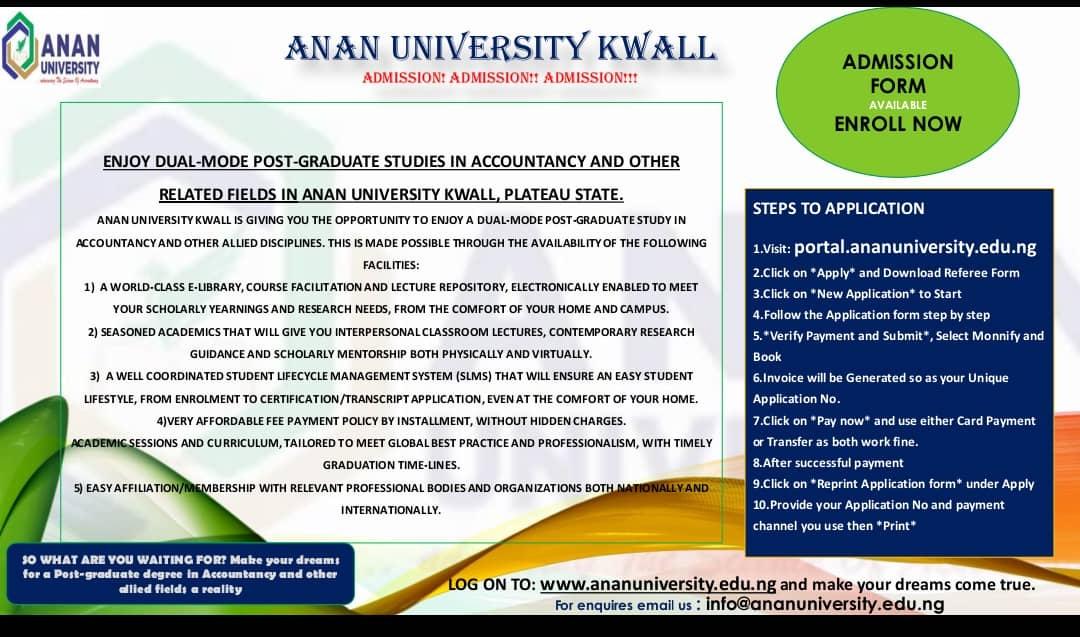 ANAN University Postgraduate Admission Form 2021/2022