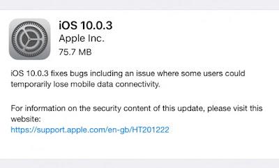 iPhone 7 dan 7 Plus Mendapat Update iOS 10.0.3 Perbaikan Bugs