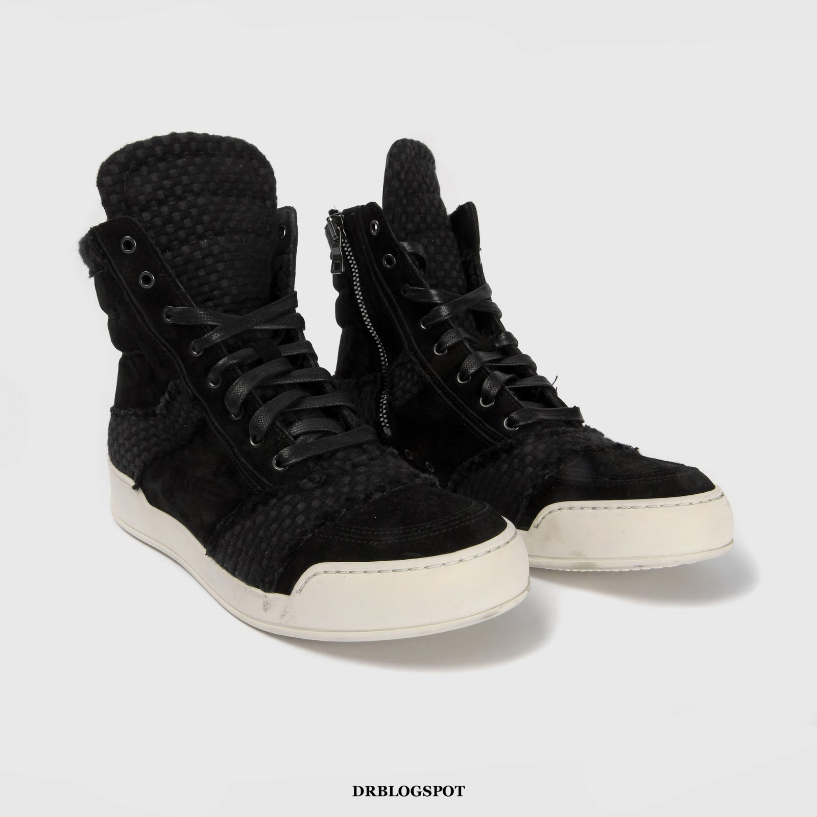 6859741cb05 Balmain Black Suede and Leather White Lace-Up High-Top Sneakers – €705.00 .  ...