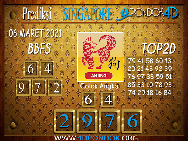 Prediksi Togel SINGAPORE PONDOK4D 07 MARET 2021