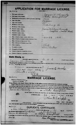 Marriage License for Heverly and Campbell