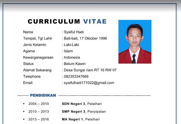 Contoh Cv Curriculum Vitae Terbaru 2019 Gratis Format Word Doc