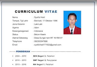 Contoh CV (Curriculum Vitae) terbaru 2019 Gratis format Word (DOC) dan PDF