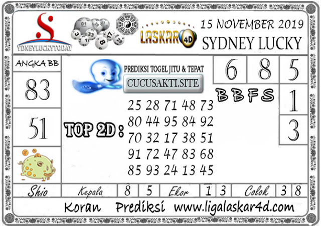 Prediksi Sydney Lucky Today LASKAR4D 15 NOVEMBER 2019