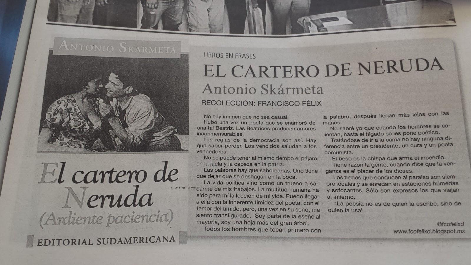 Libros En Frases El Cartero De Neruda Antonio Skármeta