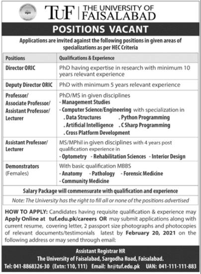 The University of Faisalabad TUF Jobs