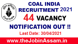 Coal India Limited Recruitment 2021 - 44 Medical Specialist Vacancy