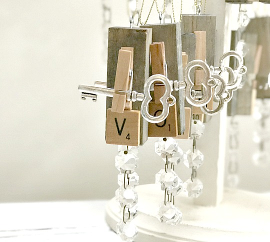 Vintage Scrabble ornaments with crystal bling