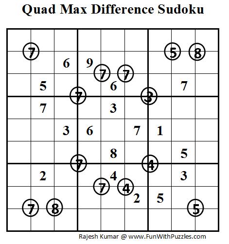 Quad Max Difference Sudoku (Daily Sudoku League #50)