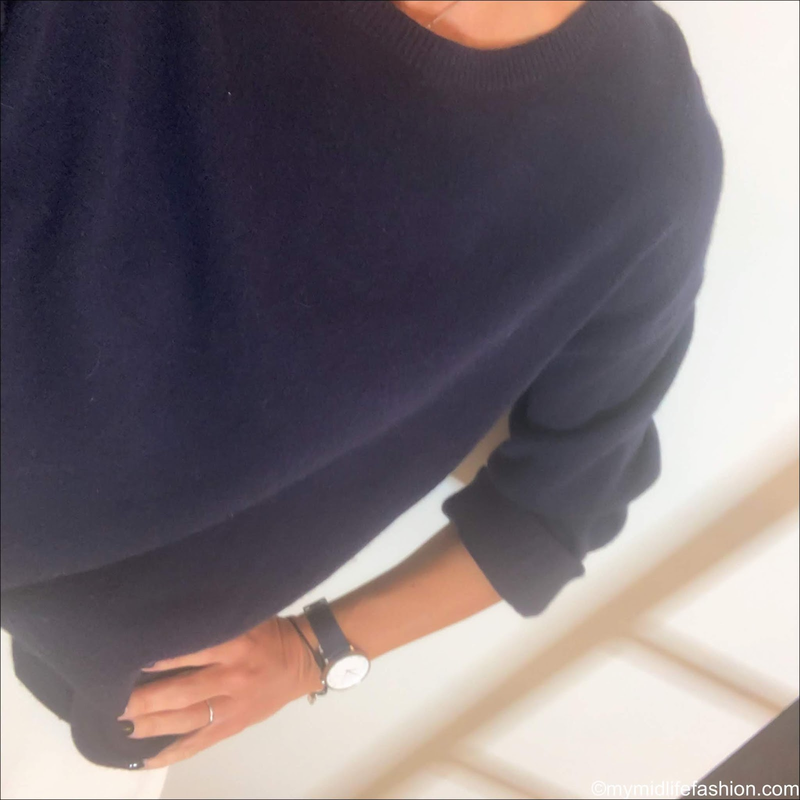 my midlife fashion, H and m oversized crew neck jumper, next a line skirt, golden goose superstar low top leather trainers