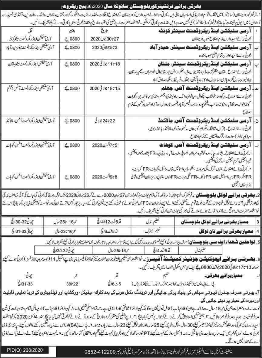 Join Pak Army FC Jobs 2020 – Sepoy & JCOs Bharti