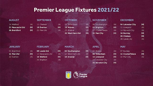 جدول مباريات أستون فيلا فى الدوري الانجليزي للموسم الجديد 2021/2022