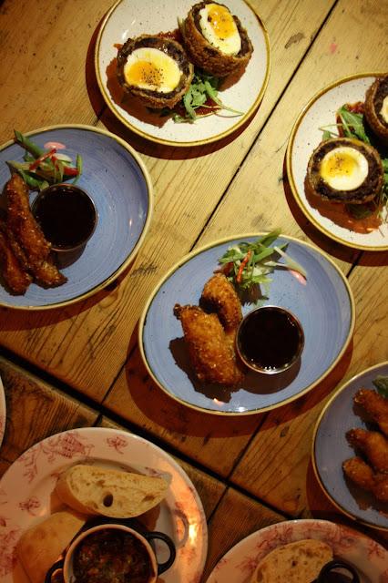 Cosy Club tapas dishes, including their black pudding scotch eggs