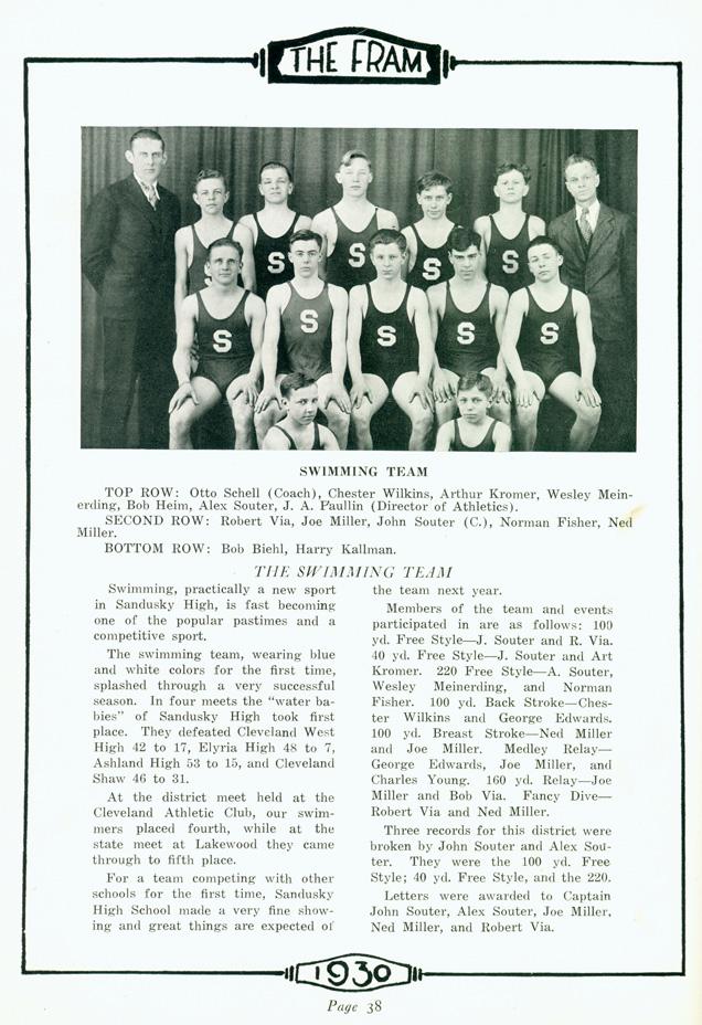 Sandusky History: Otto H. Schell, First Swim Coach of ...