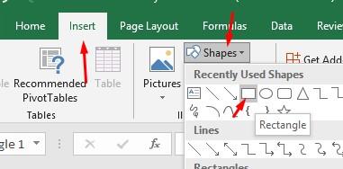Menambahakan Shepes Rectangle di Excel