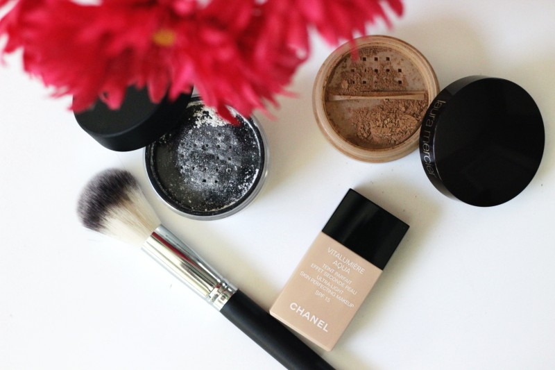 makeup powder and foundation flat lay