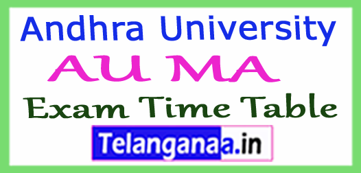 Andhra University AU MA  Exam Time Table