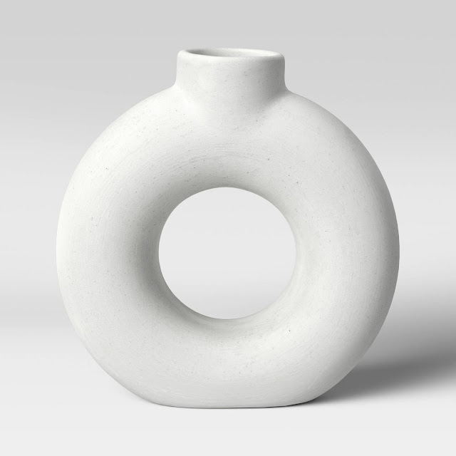 white textured modern donut vase