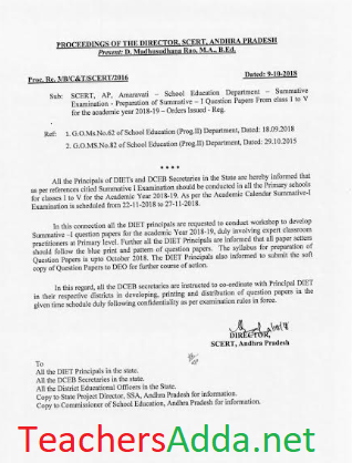 School Education Department - Summative Examination - Preparation of Summative - l Question Papers From class I to V for the academic year 2018~l9 - Orders,Rc.3,Dt.9/10/18