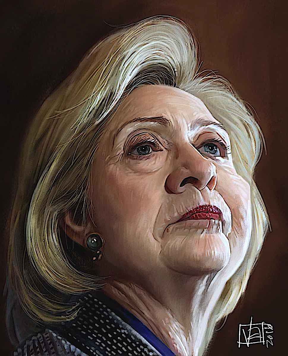 Hillary Clinton in a caricature looking weary but proud