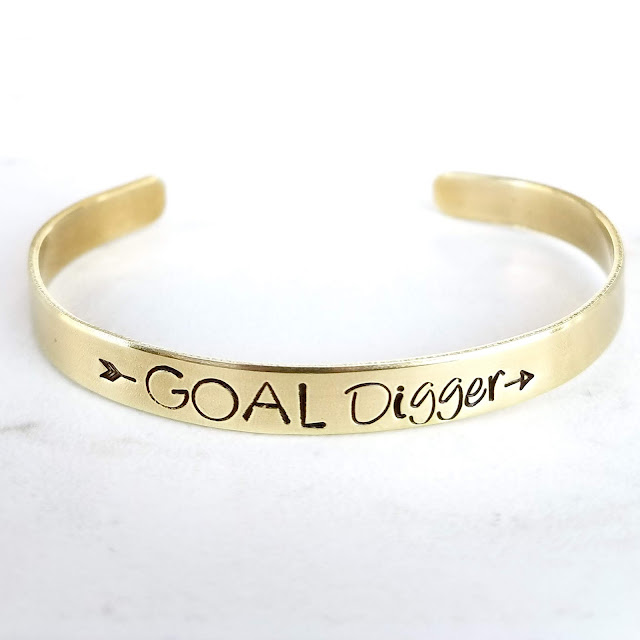 gold hand stamped hand made cuff bagle