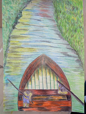 Drawing Image of boat and river