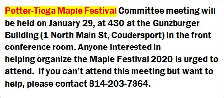 1-29 Potter-Tioga Maple Festival Committee Meeting, Coudersport