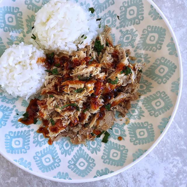 Hawaiian kalua pork with sauce and rice