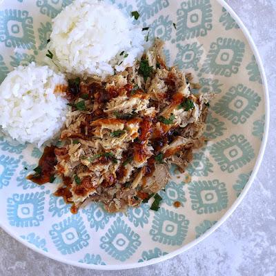 hawaiian kalua pork with huli huli sauce and rice