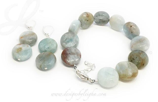 Real Aquamarine Gemstone Bracelet and Earrings