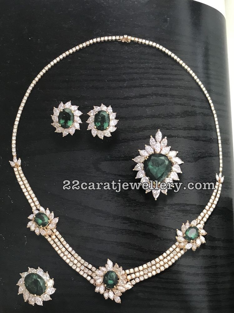 Classy Chokers With Diamond Emeralds Jewellery Designs