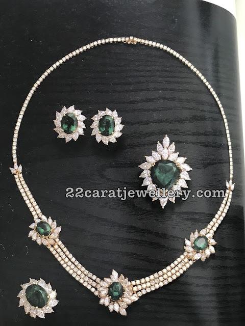 Classy Choker with Diamond Emeralds