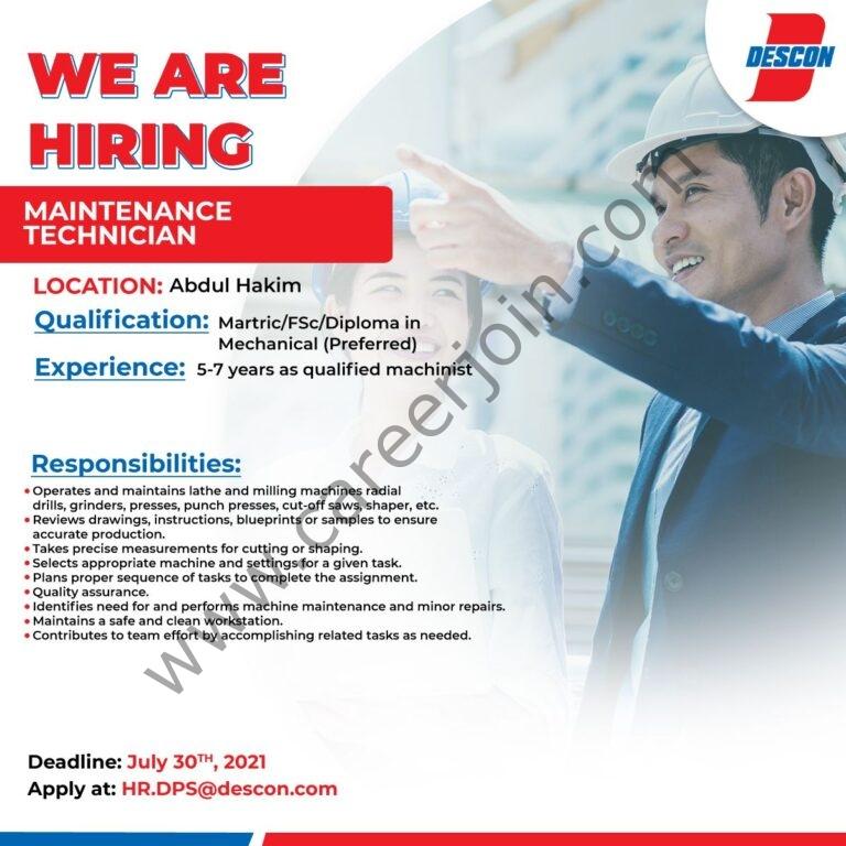 HR.DPS@descon.com - Descon Pakistan Jobs 2021 in Pakistan