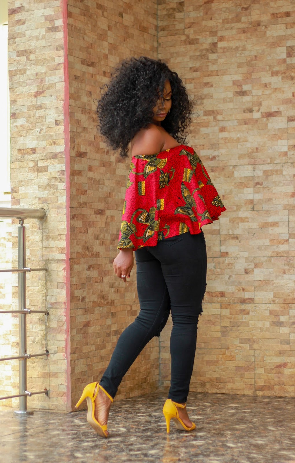 COLD SHOULDER - ANKARA - African print cold shoulder top