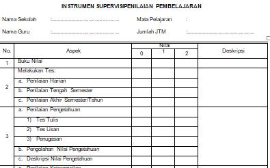 Download Instrumen Administrasi Penilaian Pembelajaran Kepala Sekolah