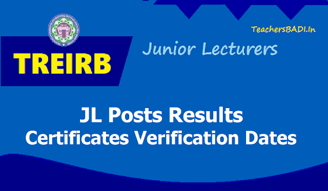 TREIRB JL Results, Certificates verification dates for 1:2 list of Candidates 2019 (Junior Lecturers)