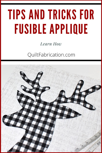 tips and tricks for fusible applique with a black and white checked deer head by QuiltFabrication