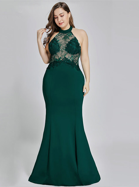 green lace plus size dress