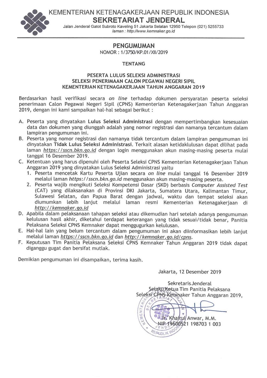 Hasil Administrasi CPNS Kementerian Ketenagakerjaan Tahun Anggaran 2019