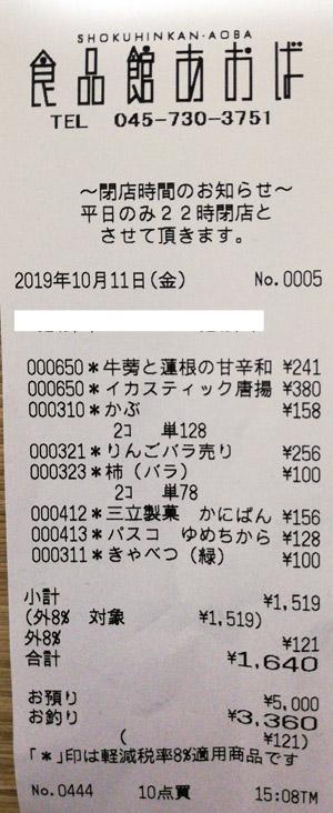 食品館あおば 弘明寺店 2019/10/11 のレシート
