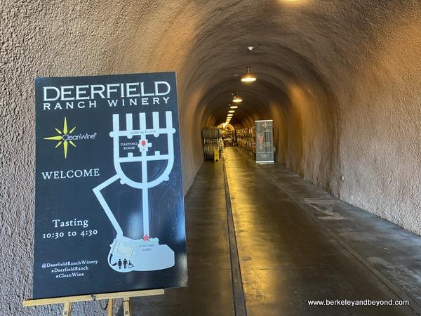 cave hallway at Deerfield Ranch Winery in Kenwood, California