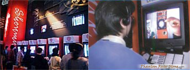 Left: the Dreamcast console area at Digitaliland. Right: Darts minigame