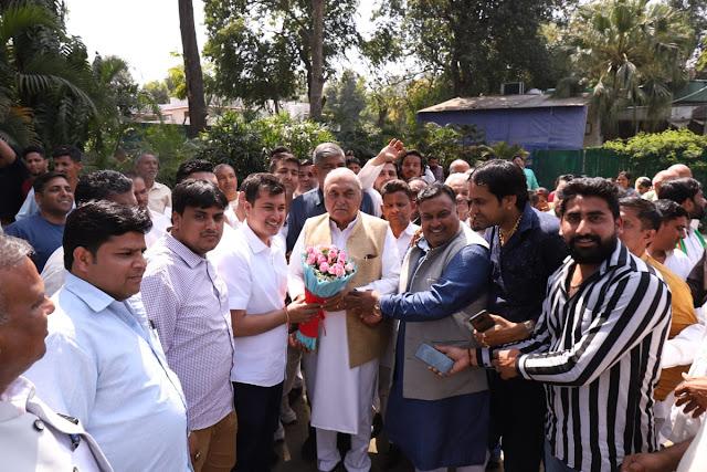 HPCC Member Lakhan Kumar Singla also congratulated Hooda with associates
