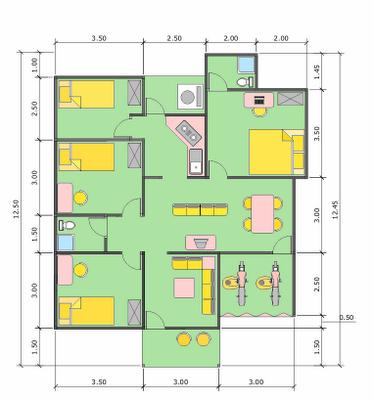 Desain Rumah Minimalis Ukuran 7x12 Meter  desain rumah minimalis ukuran 6 x 12