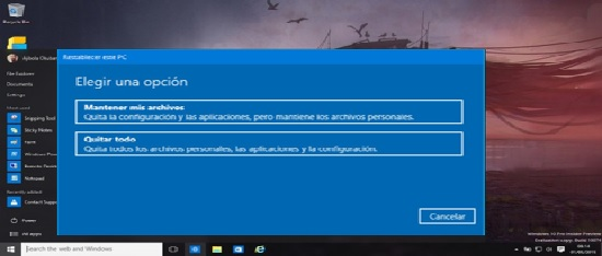 reestablecer Windows 10