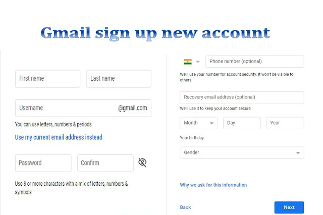 Gmail signup new account